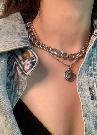 8 двойная цепочка с кулоном ожерелье колье
