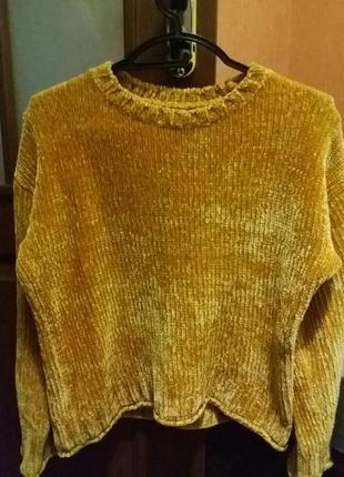 Плюшевый свитер велюровый свитер укороченый
