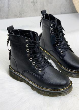 Крутые кожаные черные зимние ботиночки