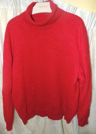 Красный кашемировый свитер-джемпер cashmere из 100% кашемира хл ( с дефектом)