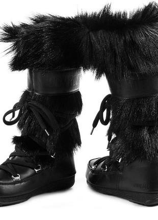 Зимние кожаные сапоги луноходы с натуральным мехом moon boot