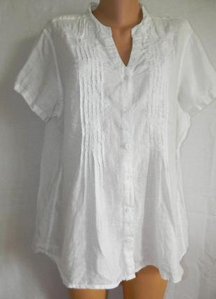 Белая блуза лен большого размера marks & spencer