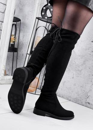 Новые женские осенние  чёрные сапоги ботфорты