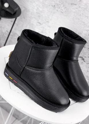 ❤ женские черные кожаные зимние угги сапоги ❤