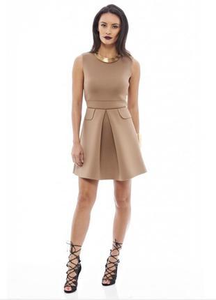 Ax paris платье новое бежевое коричневое неопрен эластичное