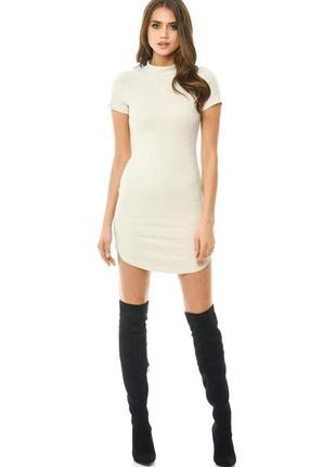 Ax paris платье белое замшевое короткое под горло с молнией