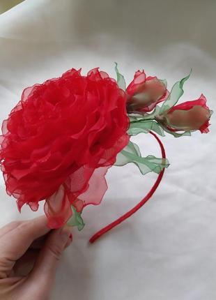 Шикарный обруч красная роза, ободок з трояндою, веночек з розами, цветы из шифона