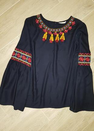 Tu woman блуза с вышивкой (свободного кроя)