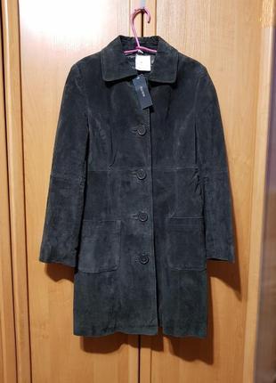 Натуральное замшевое пальто, осеннее серо-коричневое пальто, тренч