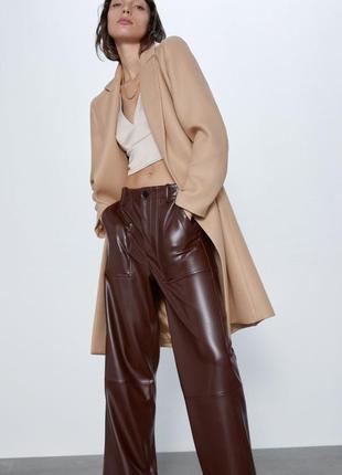 Пальто классическое с запахом zara с поясом