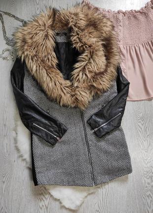 Черное серое короткое пальто деми с кожаными рукавами воротником оверсайз бойфренд прямое
