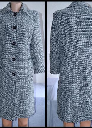 Брендовое серое демисезонное шерстяное пальто с карманами bhs македония