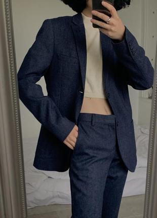 Стильный темно синий шерстяной костюм topman