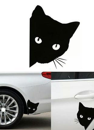 Наклейка на авто с котом графический авто стикер на автомобиль