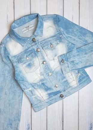 💥1+1=3 брендовая женская джинсовая куртка guess, размер 42 - 44