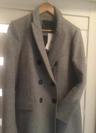 Стильное шерстяное пальто zara manteca