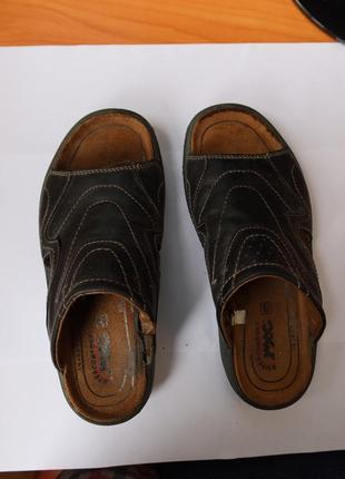 Мужские кожаные черные шлепанцы итальянские | шкіряні чорні шльопанці