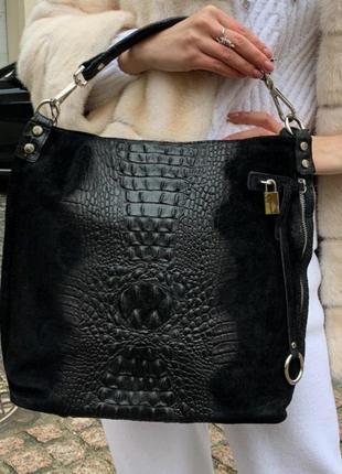 Сумка кожаная женская черная мягкая под рептилию замшевая вместительная мешок италия