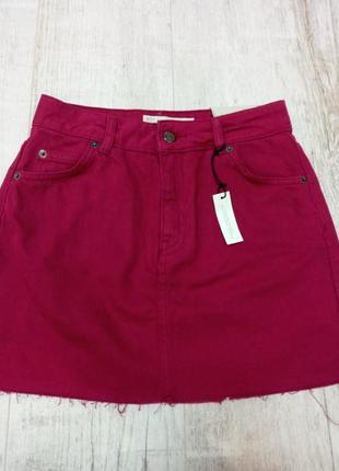 Малиновая стильная джинсовая юбка  topshop eur 36 xs-s