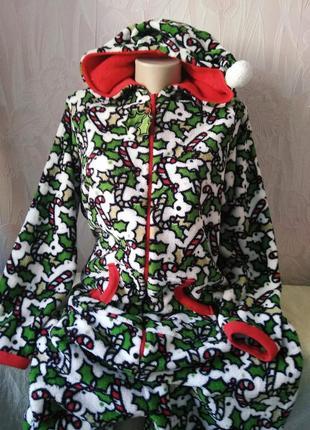Шикарный слип/кигуруми/пижама с рождественским принтом большого размера