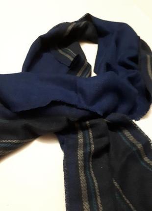 Шарф теплый большой длинный синий двусторонний