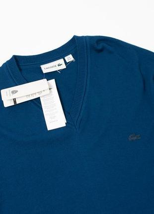 Lacoste blue v neck wool jumper мужской свитер шерсть