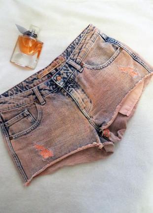 Неоновые оранжевые джинсовые шорты zara