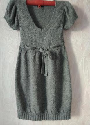 Мягкое теплое платье-сарафан с натуральной шерстью альпаки.