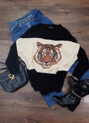 Стильная кофта, свитер травка с принтом тигра, свитшот