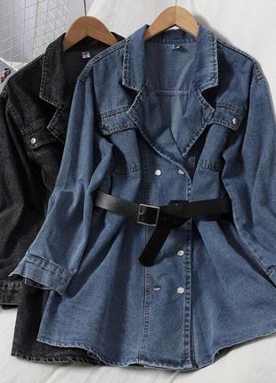 Джинсовое платье-рубашка с пояском