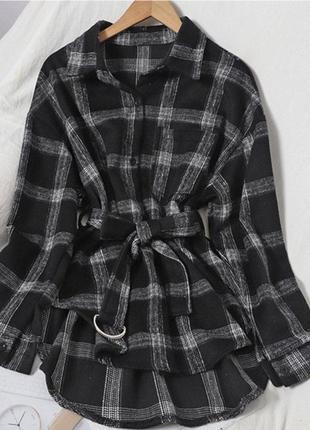 Тёплая  рубашка оверсайз в клетку, пояс в комплекте