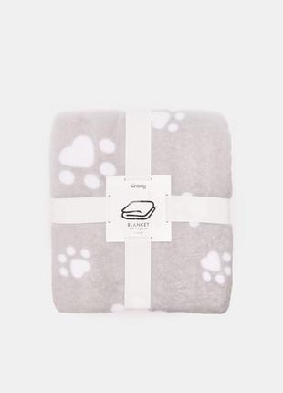 Новый серый плед детское одеяло светло-серое покрывало польша узор принт лапа след лапки