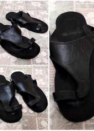 Шлепки натуральная кожа мужские черные вьетнамки шлепанцы 27,5см