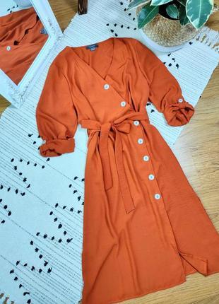 Платье миди терракотового цвета