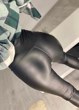 Лосины женские с высокой посадкой флисе кожаные леггинсы теплые штаны зима