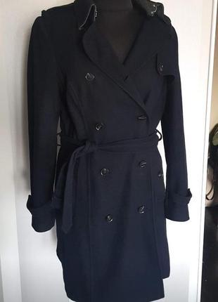 Классное пальто тренч темно синее 50% шерсти