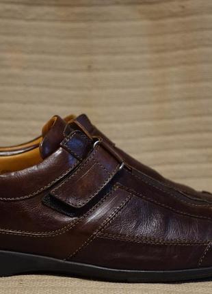 Красивые темно-коричневые кожаные спортивные полуботинки van bommel голландия 9 р.