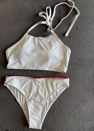 Білий купальник, купальник роздільний, жіночий купальник.