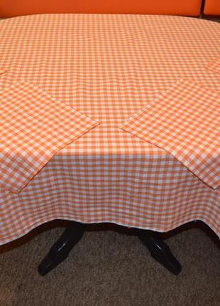 Скатерть в оранжевую клетку, лен + 4 салфетки.