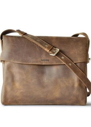 Кожаная сумка, сумка-почтальон, для ноутбука, мужская сумка dothebag