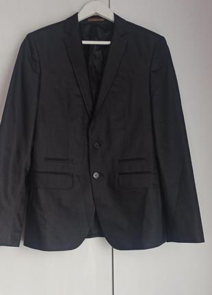 Классный шерстяной пиджак жакет графит перламутр