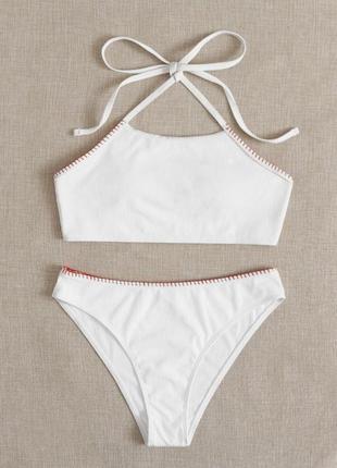 Білий купальник, трендовий купальник, белый купальник.