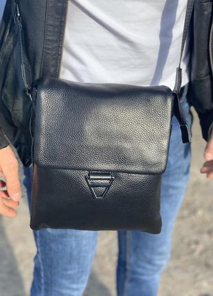 Мужская кожаная сумка через плечо tiding bag / барсетка / месенджер