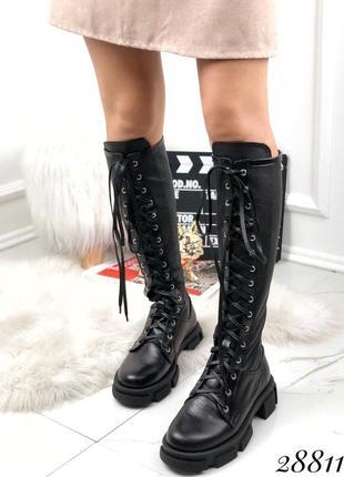 Новые женские кожаные демисезонные чёрные сапоги