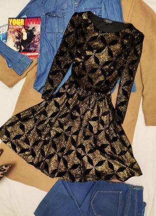 Платье велюровое бархатное чёрное с золотом короткое topshop