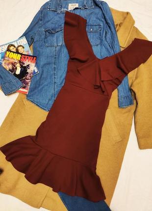 Quiz платье бордо марсала бургунди с воланом