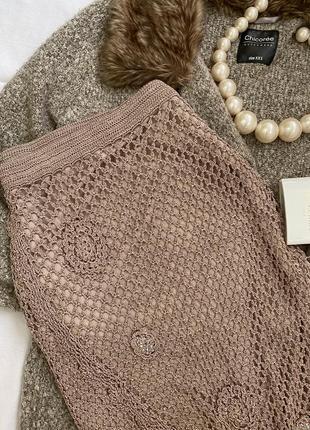 Вязанная юбка ручной работы  с подкладом