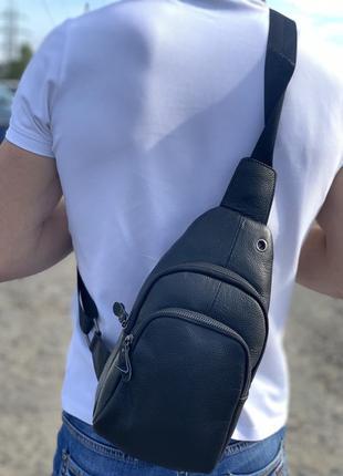 Мужская кожаная сумка через плечо / барсетка / слинг