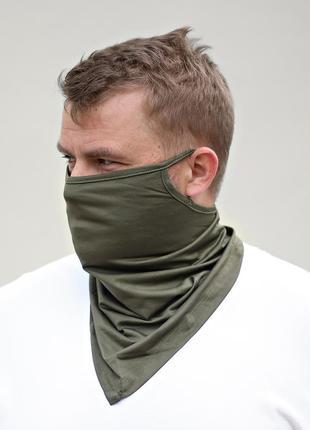Бафф шарф для лица хаки зеленый. зашитный шарф маска для лица унисекс