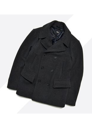 Asos l / плотное шерстяное тёмно-серое пальто бушлат увесистое
